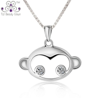 925 Sterling Silver Children Jewelry Lovely White Cubic Zirconia Monkey Necklaces Pendants For Ladies Girl Gift