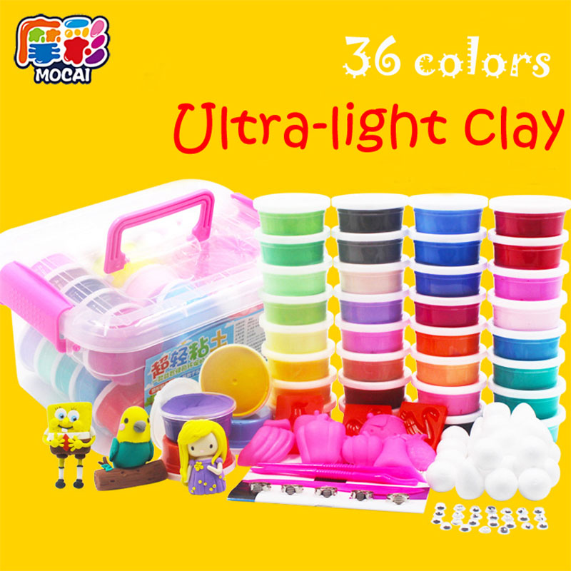 36 Colors Play Dough Intelligent Plasticine Kids Toys,DIY Polymer Magnetic Clay Soft,Plasticine Play Up Polymer Foam Clay