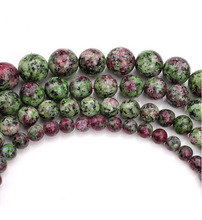 Natural Red and green pattern Round Stone Beads Fashion DIY Bracelet Necklace
