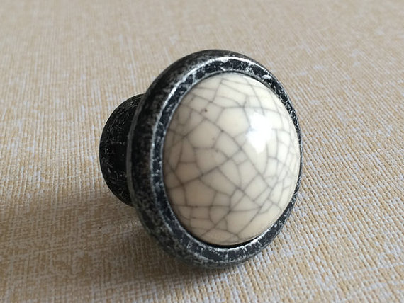 Dresser Knob Ceramic Knobs Kitchen Cabinet Knobs Drawer  Handles / White Crackle Antique Black Furniture Door Hardware Porcelain dresser drawer pull handles kitchen cabinet knobs door handle knob porcelain antique black white furniture hardware ceramic