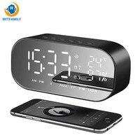Desktop Mini LED Digital Alarm Clock best selling 2018 support Bluetooth AUX Snooze Function radio clock temperature display