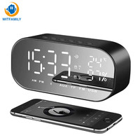 Desktop Mini LED Digital Alarm Clock best selling 2018 support Bluetooth AUX Snooze Function radio clock temperature display