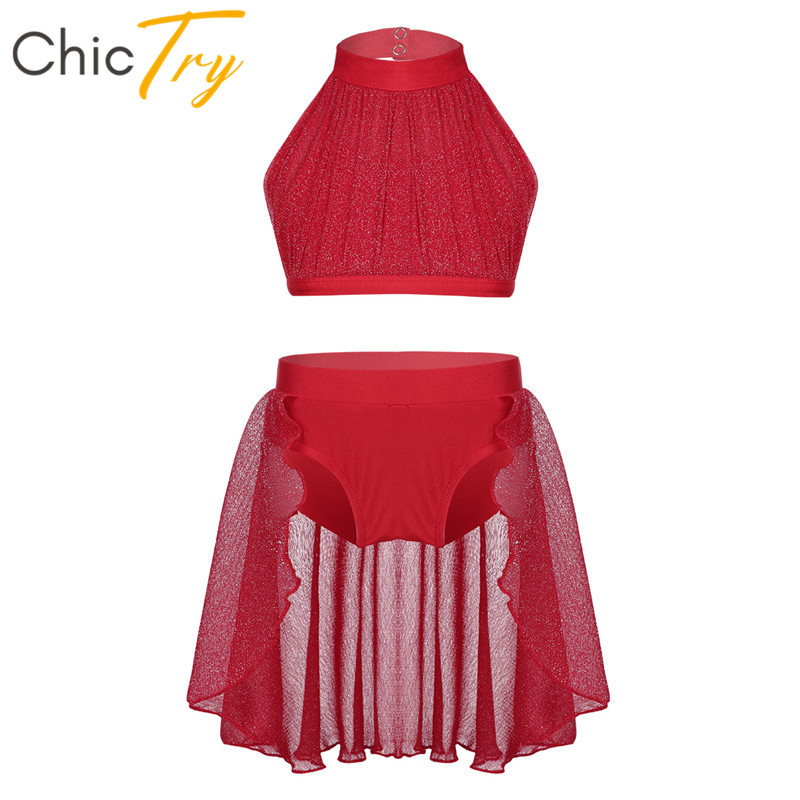 ChicTry Girls Backless Ballet Tutu Dance Wear Kids Crop Top Shorts Skirt Set Children Stage Contemporary Lyrical Dance Costumes image