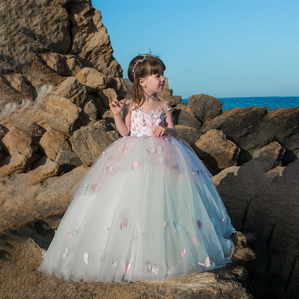 Little Girls Wedding Gowns: New Arrivals Elegant Little Girls Pink Dress Ball Gowns