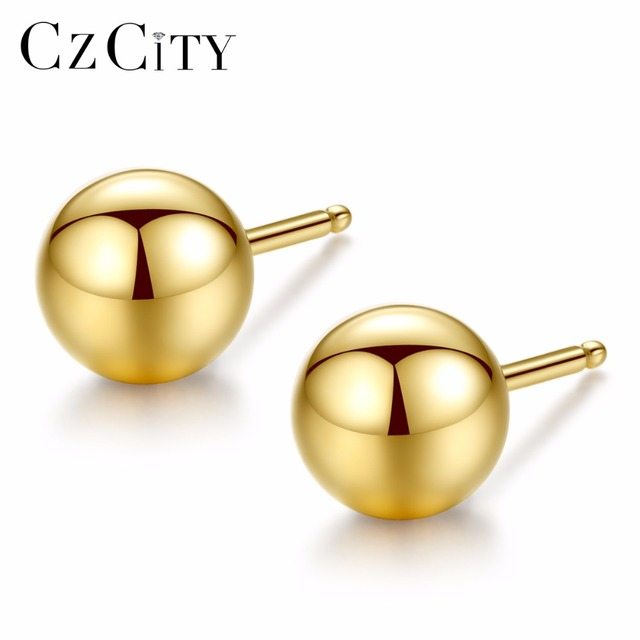 CZCITY Lüks Marka Charm Otantik Saf 18 k Sarı Altın Yuvarlak Boncuk top düğme küpe Günlük Giyim Için Altın Küpe Takı