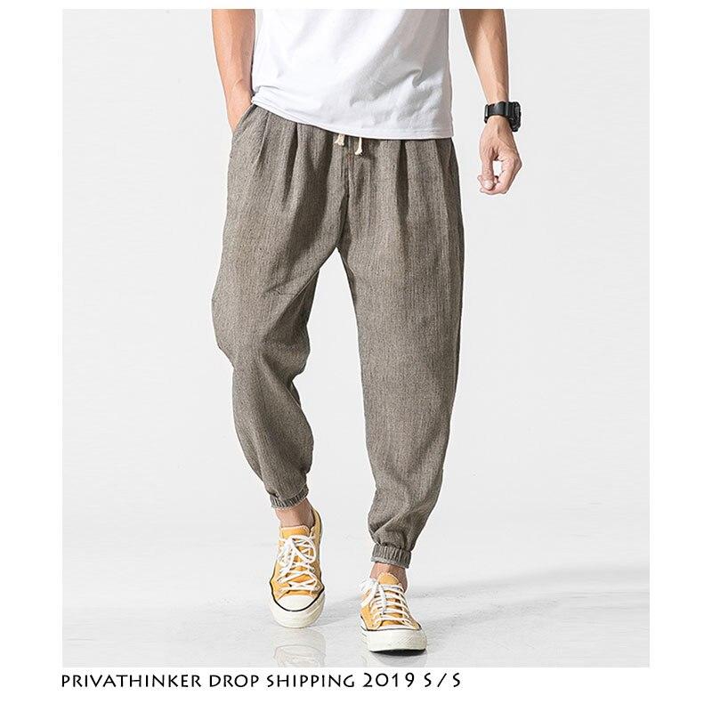 Dropshipping Men Harajuku Streetwear Harem Pants 2019 Mens Summer Linen Thin Sweatpants Male Black Sweatpants 5XL Joggers