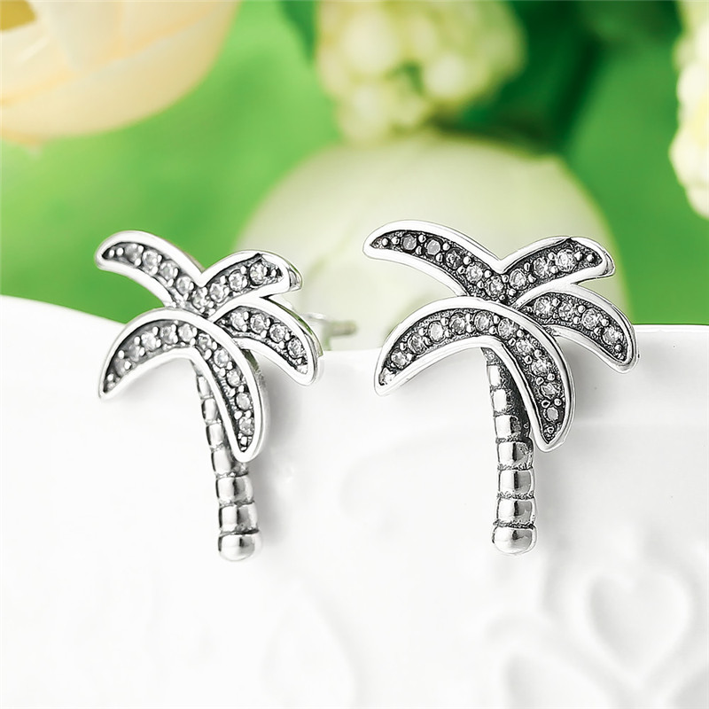 Gagafeel Solid 925 Sterling Silver Sparkling Palm Tree Stud Earrings Super Lovely Crystal Women Party Jewelry In From