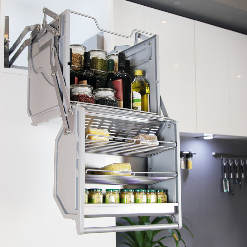 Kitchen Cabinet Manual Double Body Storage Lifting Basket Hanging Cabinet Shelf Linkage Lift