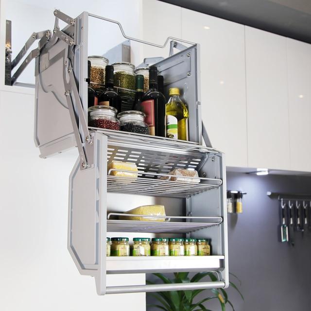 Kitchen Cabinet Manual Double Body Storage Lifting Basket Hanging Shelf Linkage Lift