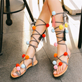 yeanatty 2017 nwe  leather pom pom strap sandals lace up gladiator flats thong sandals flip flops multi color stones boho shoes
