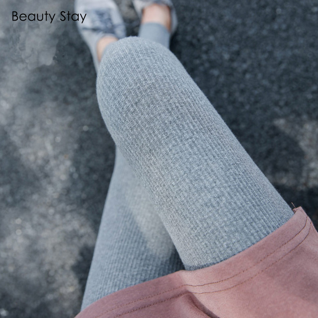 BeautyStay Women Spring Summer Thin Leggings Slim Female Pants Elastic Causal Comfortable Thread Cotton Vertical Strips Leggings