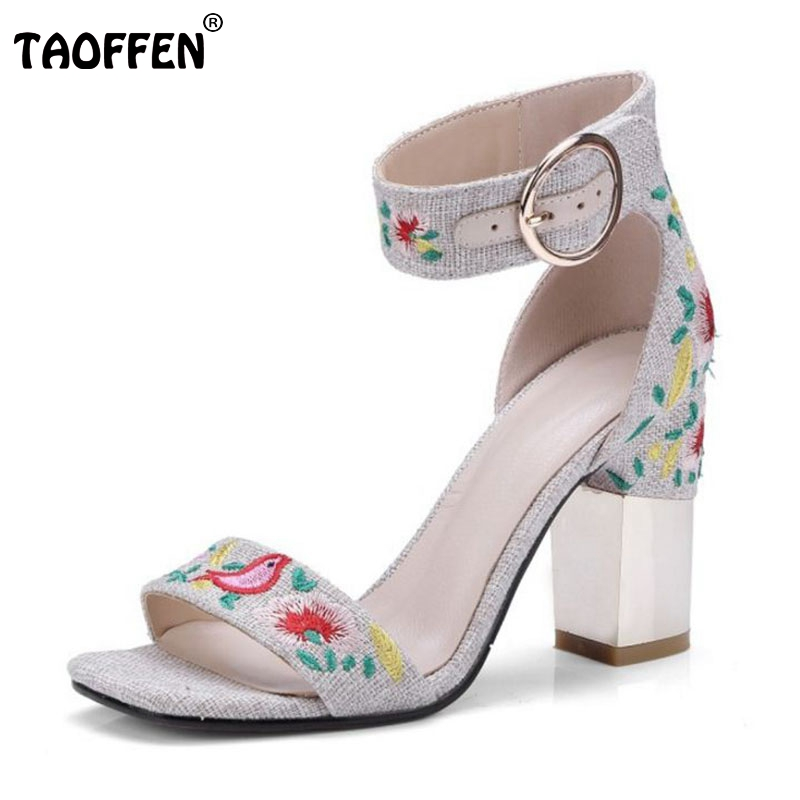TAOFFEN Size 34-43 Vintage Women National Style Real Genuine Leather High Heel Sandals Flower Ankle Strap Thick Heel Sandals vintage style twig shape flower embellished women s earring