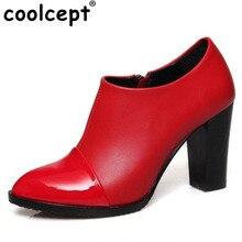 Coolcept Taille 33-45 Mujer Femmes Chaussures À Talons Hauts En Cuir Verni Talon Carré Plate-Forme Automne Hiver Femmes Chaussures Cheville bottes