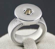 2018 Vintage DIY Round Adjustable silver plated 18mm Snap Button Rings Jewelry For Snap Button Charms(China)