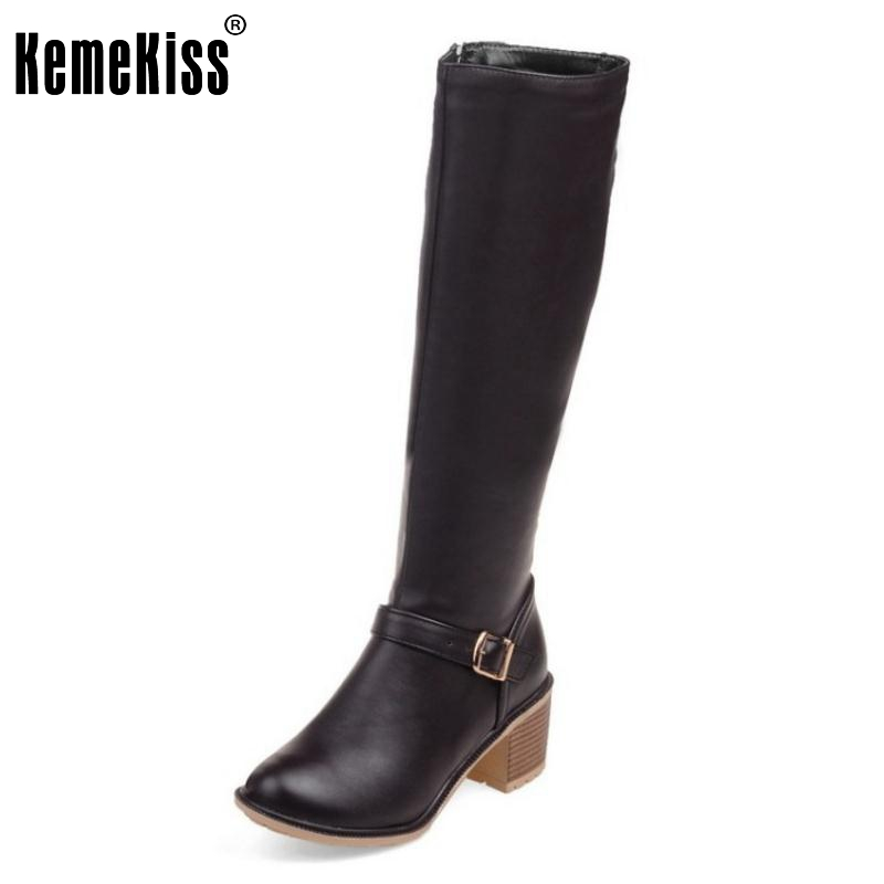 Women Square Heel Knee Boots Woman Fashion Round Toe Buckle Style Heels Shoes Ladies High Quality Knight Boots Size 34-43 woman genuine leather round toe ankle boots women sexy high heel zipper botas fashion buckle heels shoes size 34 39