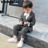 baby boys clothes suit plaid wool clothes set little gentleman clothes suits jacket & pants 2 pcs clothing sets high quality