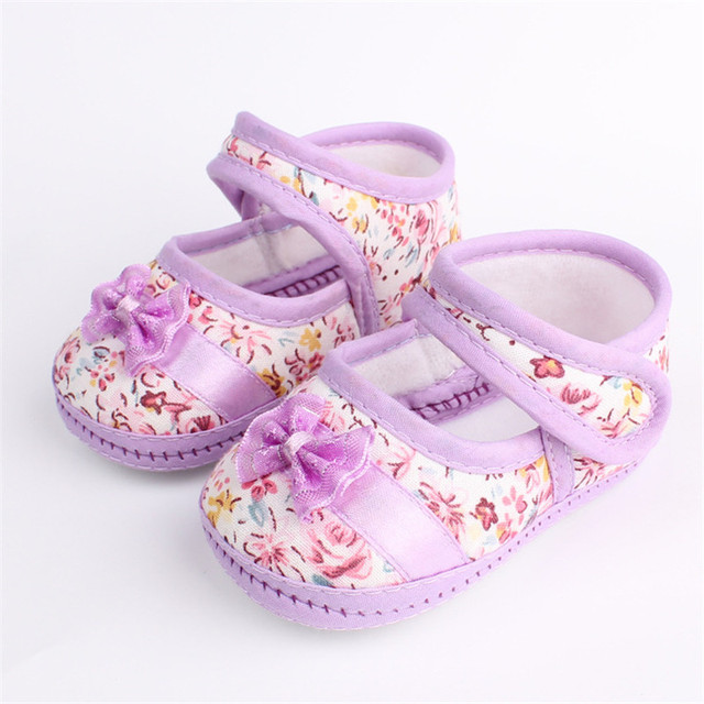2019 New Fashion Infants Shoes Baby Kids Bowknot Flower Printed First Walkers Sweet Color Prewalker Cotton Fabric Shoes 3