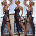 2017 Nuevas Llegadas Caliente Azul Camisón Largo Pijama Sexy Ropa Interior sexy Longuette Vestido Sin Espalda de Encaje Exótica Arco Vestidos de La Novedad