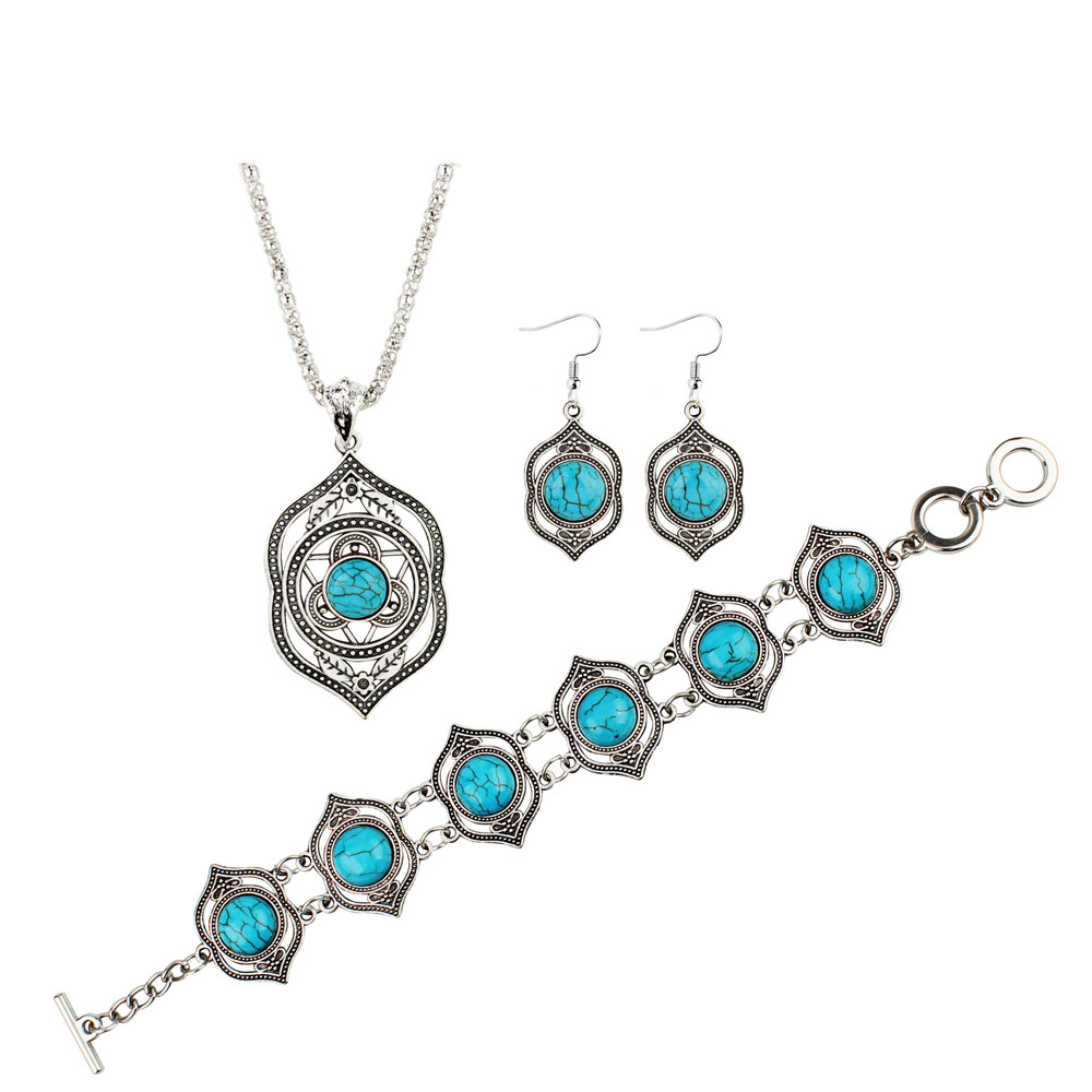 OTOKY Earring Necklace Ethnic-Style Jewelry Bracelet Ornaments Gift 4pcs Women for May22