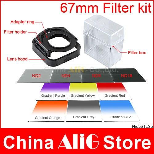 14in1 объектива камеры фильтра 67 мм адаптер kit градиент н . д . 2 / 4 / 8 / 16 фильтра cokin P для EF-S 18 - 135 мм стм / Nikon AF-S 18 - 140 мм