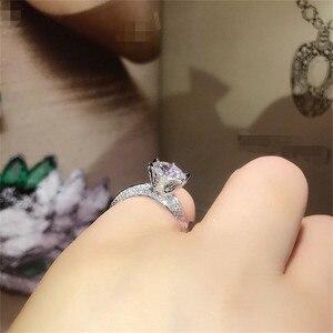 Image 5 - Klasyczne luksusowe naprawdę twarde 925 srebrny pierścień 2Ct 10 serca strzały SONA diamentowe wesele biżuteria pierścionki zaręczynowe dla kobiet