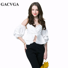 GACVGA Women Ruffles Puff Sleeve Blouse Sexy Wrapped Chest Tops Summer Casual Party Wear Shirt Chemisier Femme Ladies Crop Top