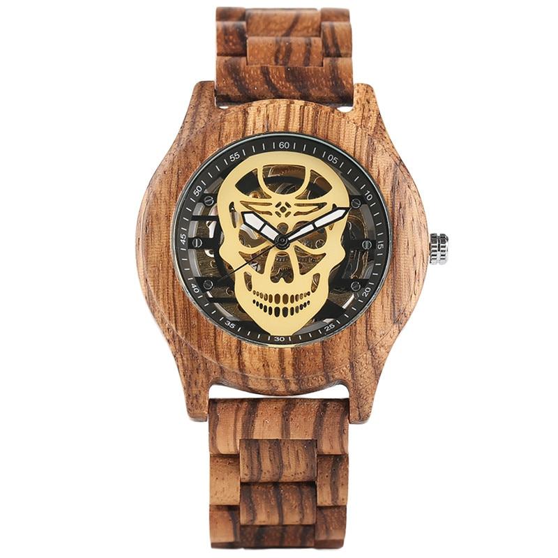 Novel Mechanical Wood Watch Awesome Punk Skull Transparent Dial Self Winding Cool Men Teens Wooden Wristwatch relogio masculino