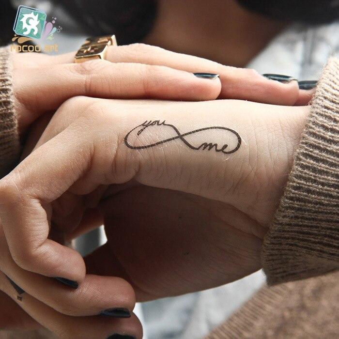 5 Pcs Un Couple De Beaux Hommes Et Femmes Etanche Tatouage Main