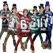 Free Shipping Summer Cheap Fashion Hip Hop Bling Sequin T shirt Dress Long Women Printed Sequined T Shirt For Dance