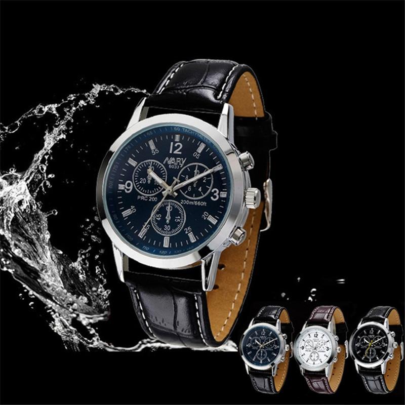 Sport Military Business Dress Quartz-Watch Dial Clock Men Mens Leather Wrist Watch Round Case Waterproof Shockproof Watches#2522  недорого