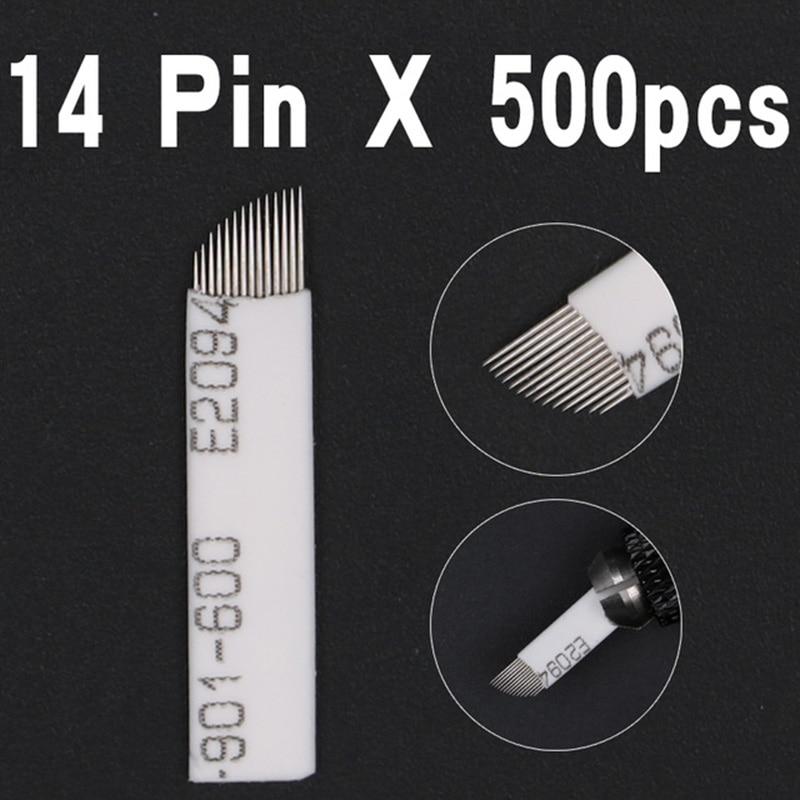 500 PCS 14 Pin Shape Tattoo Needles Permanent Makeup Eyebrow Embroidery Blade laminas For 3D Microblading
