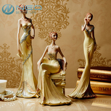 NEO 3 Different Styles Resin Graceful Lady Figurine Girl Modern Statue Sculpture Ornament Home Wine Cabinet Living Room Decor