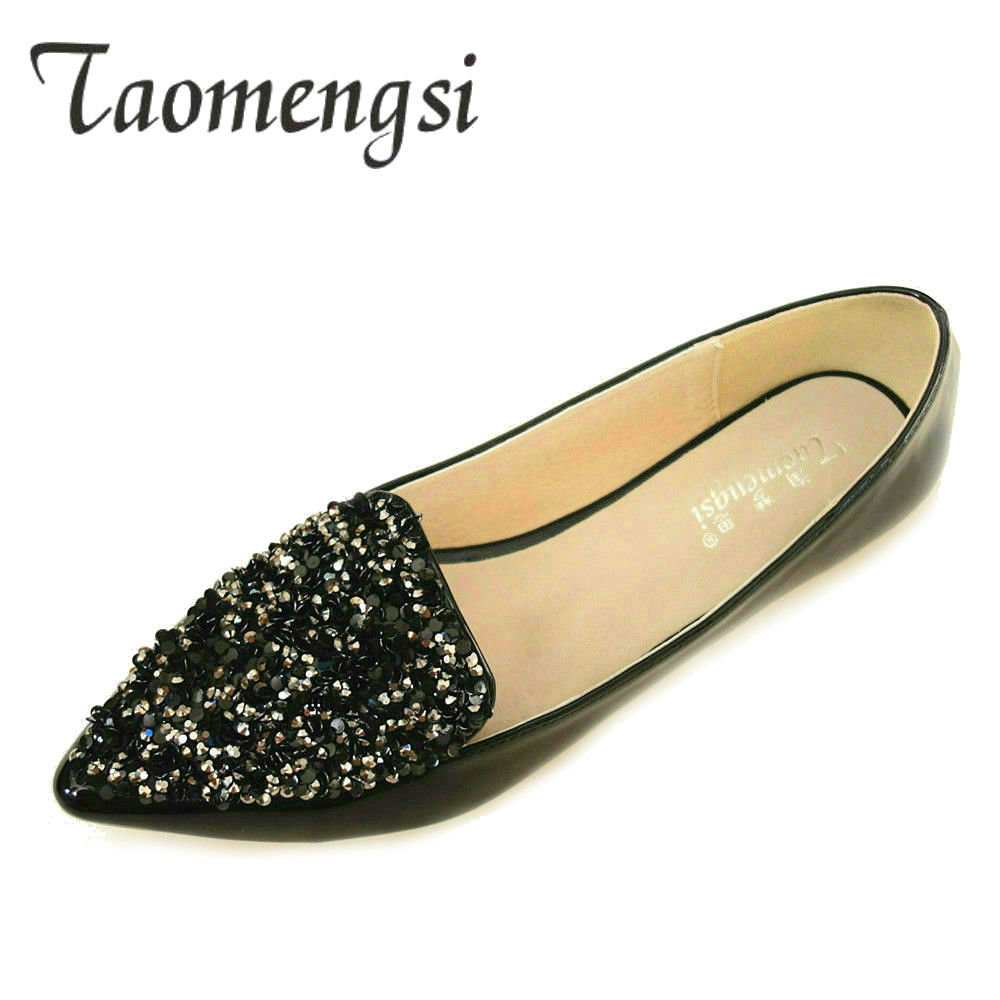 NEW Casual Flat Shoes Women 2018 Patent Leather Ladies Flats Big Size 43 Spring Autumn Womens Shoes Point Toe Bling Flats Shoes vankaring new 2018 spring women flats shoes patent leather flat heels pointed toe black red shoes woman dress casual date shoes