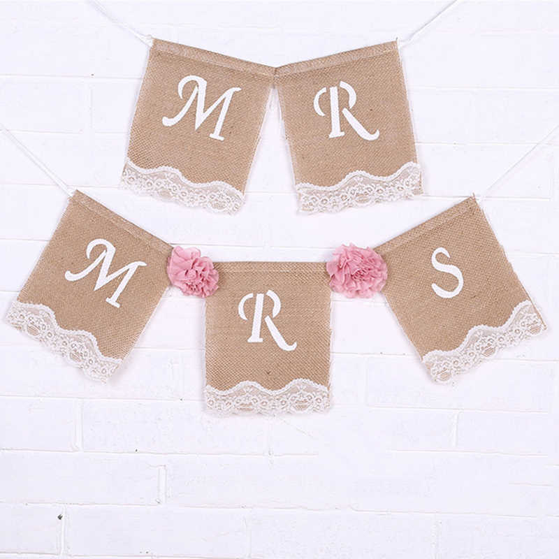 1.5M Jute Natural Photo Props Mr & Mrs Vintage Pennant Burlap Bunting Banner Wedding Rustic Party Decoration Flag Event Supplies