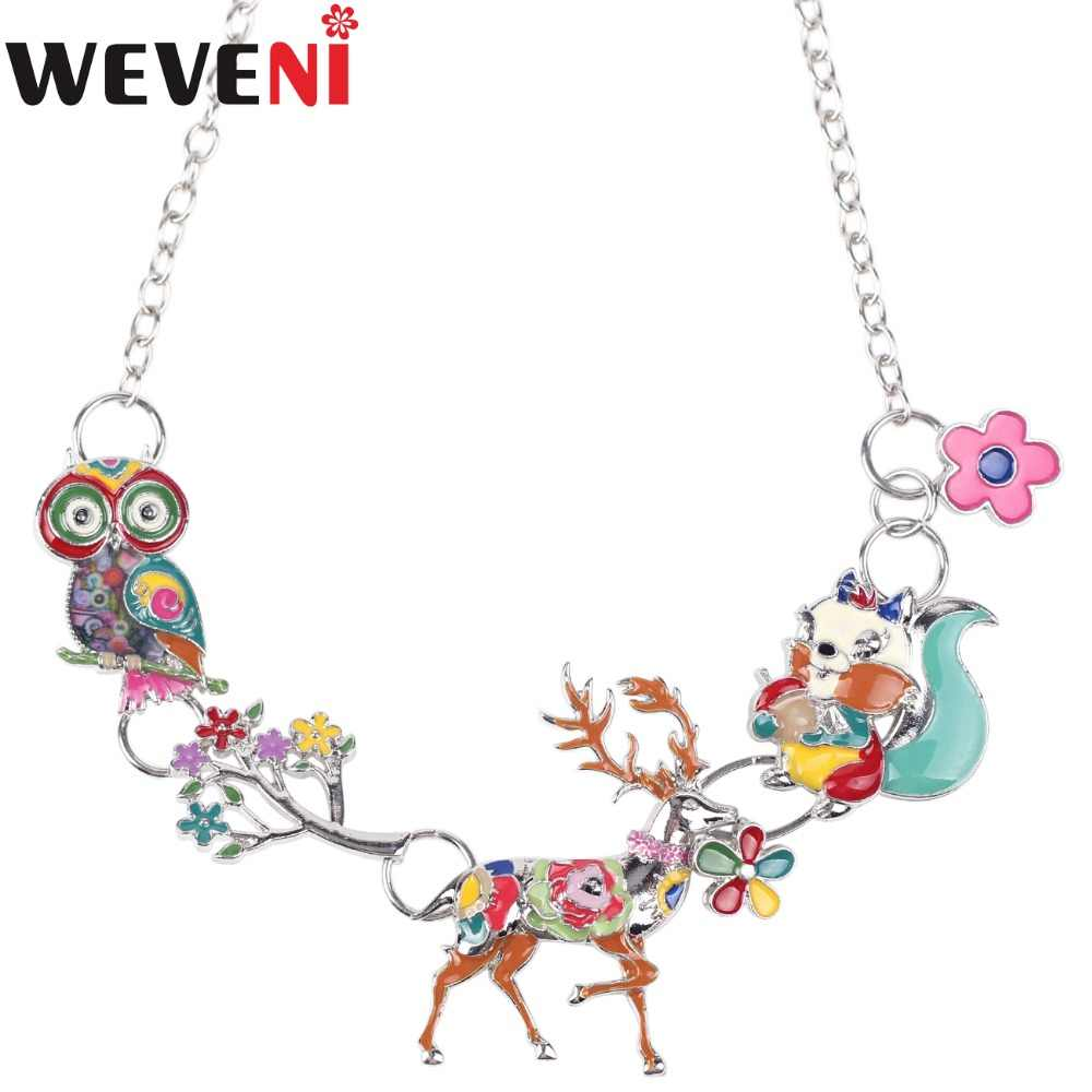 WEVENI Statement Enamel Metal Deer Owl Squirrel Choker Necklace Pendants Chain Collar 2017 New Fashion Animal Jewelry For Women