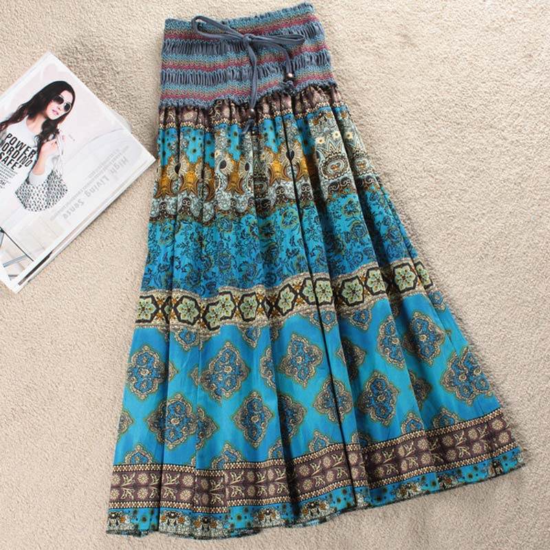High Waist Bohemian Floral Women Long Skirt Elastic Sashes Pleated A-line Vintage Women's Skirts 2019 Summer Fashion Clothes