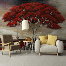 цена на 3d wallpaper stereo hand-painted oil painting rich tree TV background wall paper mural home decoration