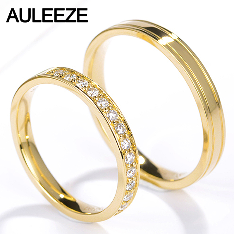 AULEEZE Natural Real Diamond Lovers Ring AU750 18K Yellow Gold Ring For Women and Men Couple Wedding Bands Fine Jewelry 18k gold ring pair ring lovers couple simple and elegant male female solid au750 wedding engagement hot sale new trendy size7 18