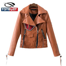 Embroidery Leather Jacket Women 2016 Autumn Female Leather Clothing Outerwear Jackets And Coats Ladies Leather Coat Motorcycle