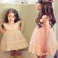 Sweet baby girls dress kids vestido de malla de hilo de encaje suspender corte arco princesa del bebé del vestido 5 unids/lote al por mayor