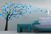 Blowing Tree Flower Removable Wall Stickers Kids Nursery Vinyl Decals Decor Bedroom Living Room Artistic Design Mural SA378