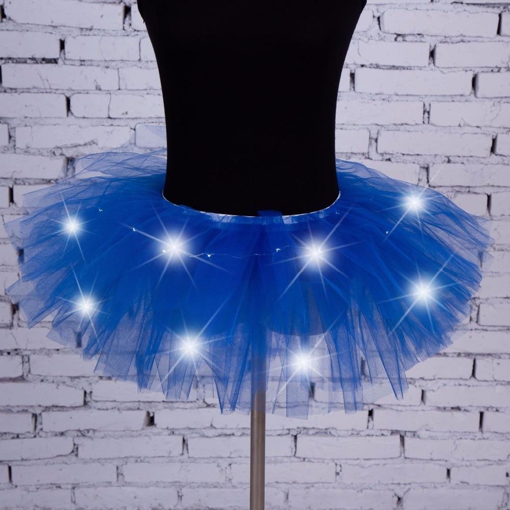2017 Nuovo Voile Donne Sexy di Modo Ha Condotto La Luce Up Neon Fantasia Arcobaleno Mini Tutu Costume di Halloween Per Adulti Gonna Dell'abito di Sfera