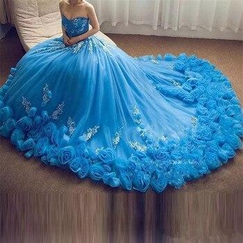 57022ef6f4 BONJEAN lujo azul cariño vestido De Quinceanera Vestidos 2019 3D apliques  De flores De encaje dulce 16 Vestidos De 15 años
