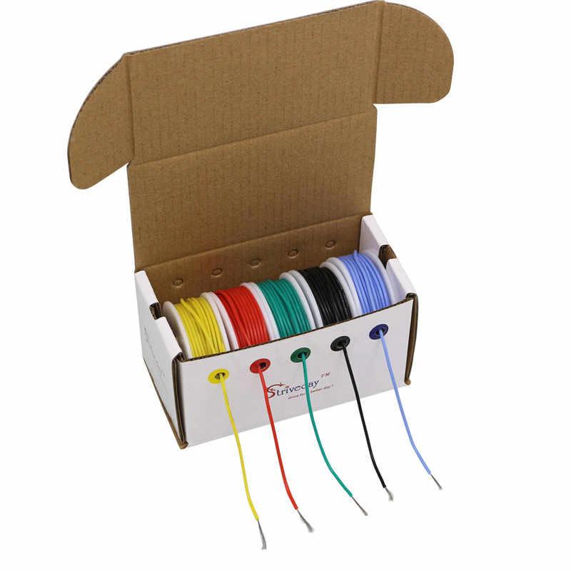 18 20 22 24 26 28 30AWG câble en silicone souple mélange 10 couleur boîte 1 + boîte 2 paquet fil cuivre étamé électronique fil DIY