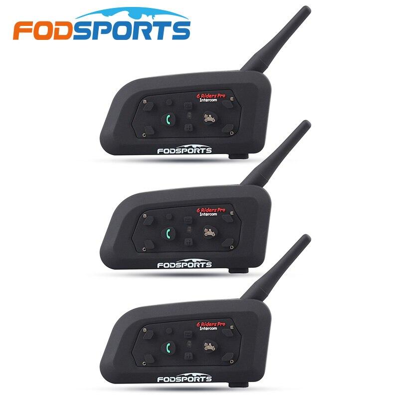 Fodsports 3 sztuk V6 Pro zestaw słuchawkowy bluetooth do kasku domofon 6 zawodnicy 1200M bezprzewodowy Intercomunicador bt interphone