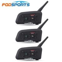 3 Pcs V6 Motorcycle Helmet Bluetooth Headset Intercom 6 Riders 1200M Wireless Intercomunicador BT Interphone