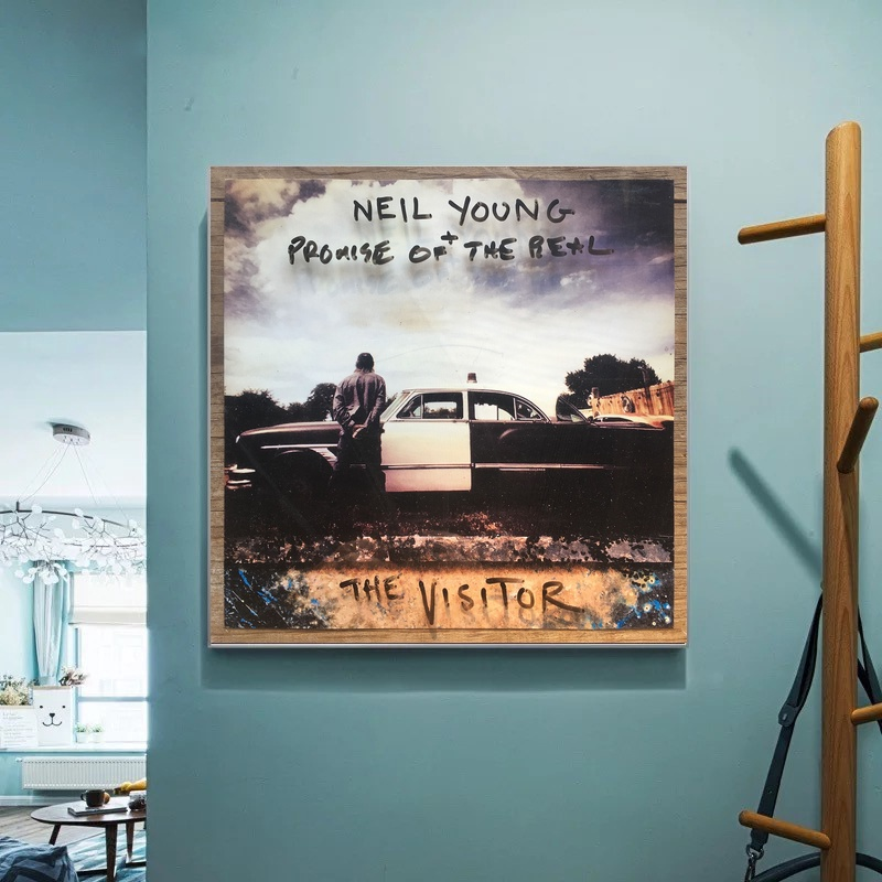 Neil Young Promise of The Real The Visitor Poster Album Cover Music Art Canvas Wall Pictures for Living Room No Frame image