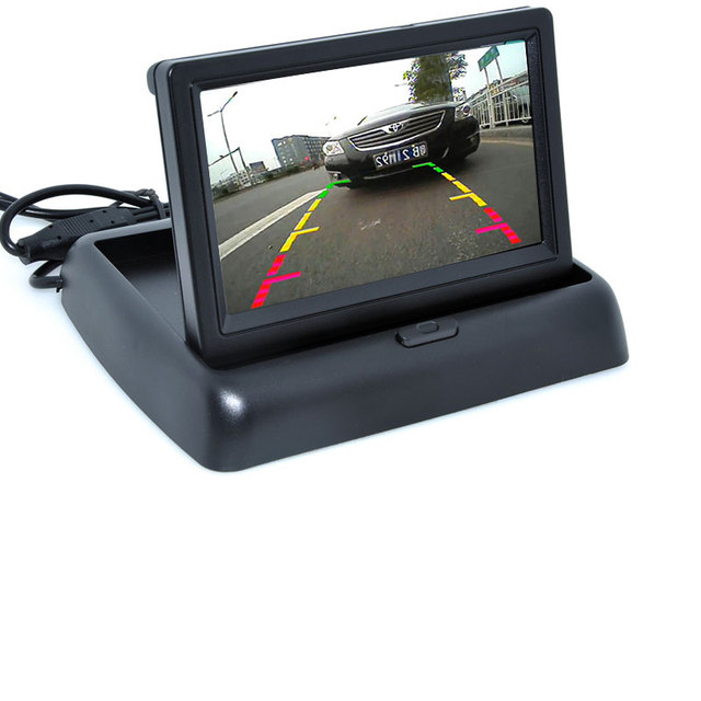 7LED Night Vision Car CCD Rear View Camera With 4.3 inch Color LCD Car Video Foldable Monitor Camera Auto Parking Assistance 4