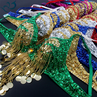 Women Belly Dance Costume Outfit Bra Top Indian Dance Oriental Sequined Beaded Fringe 36 80 B