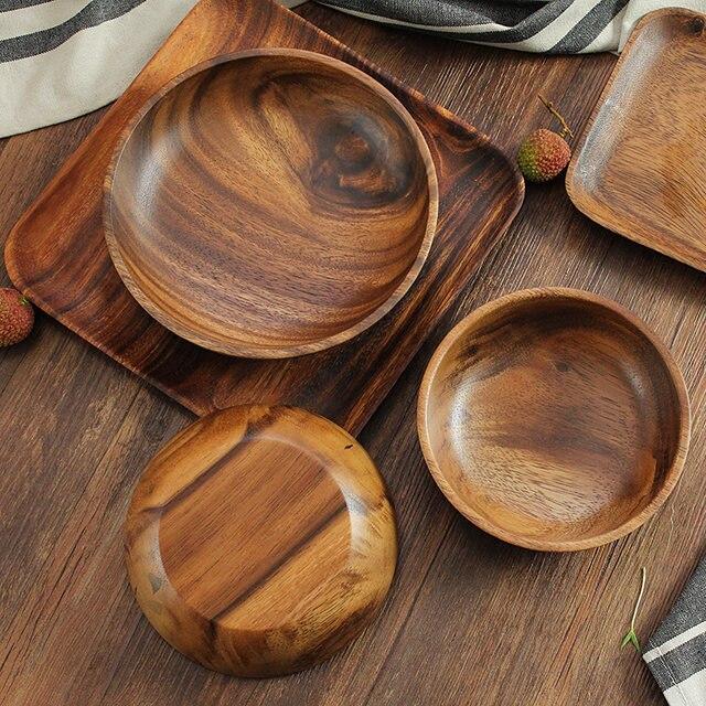 high quality kitchen wooden salad bowls 2 sizes large small acacia wood bowl set fruit food serving bowl plate wood tableware - Wooden Salad Bowl Set